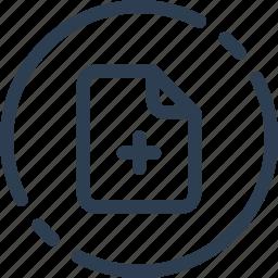 circle, doc, file, new, plus, ui, web icon