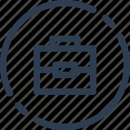 case, circle, portfolio, suit, suitcase, ui, web icon