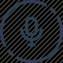 audio, circle, microphone, talk, ui, voice, web icon