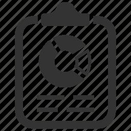 analytics, clipboard, diagram, finance, pie chart, report, statistics icon