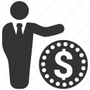 business, businessman, dollar, finance, financial, loan, money icon