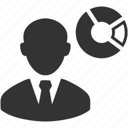chart, man, person, pie, presentation, share, usinessman icon
