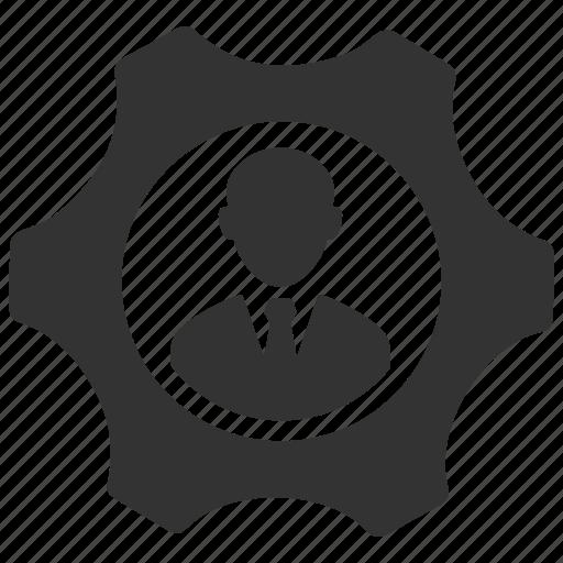 business, configure, control, gear, man, person, user icon