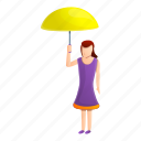 family, fashion, umbrella, woman, yellow, young