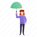 baby, girl, green, small, umbrella, woman