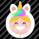 costume, custom, cute, epression, kid, onesie, unicorn icon