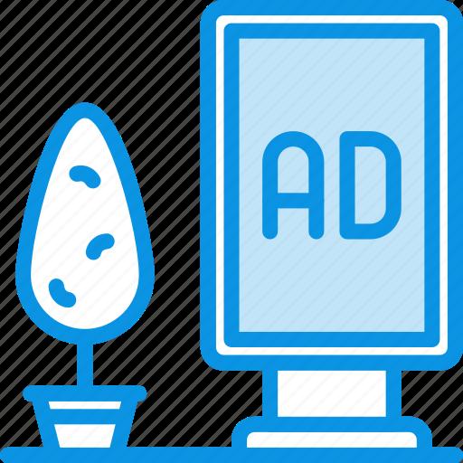 ad, billboard, street icon