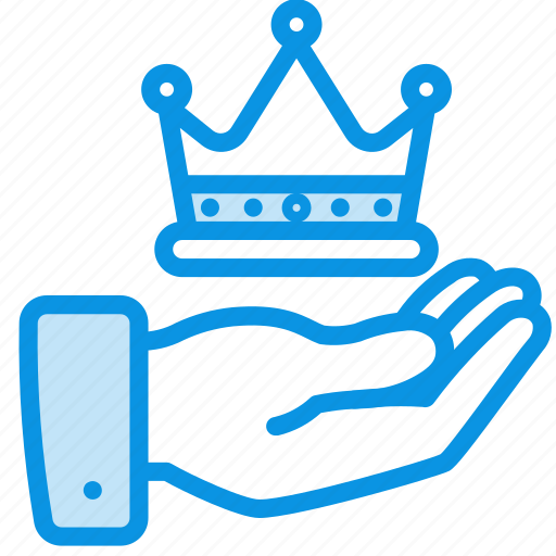 crown, hand, luxury icon