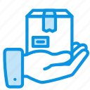 box, care, delivery, hand, package, share icon