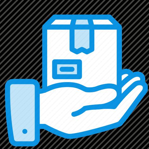 box, hand, product icon