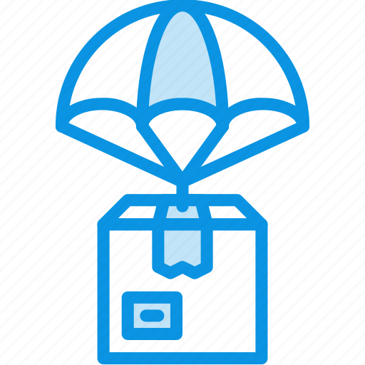 box, delivery, parachute icon