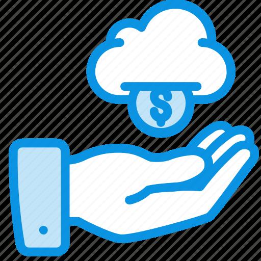 cloud, hand, money icon