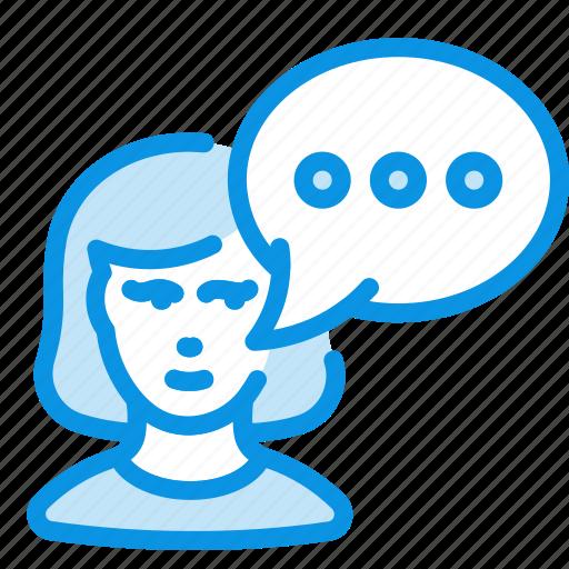 communication, message, woman icon