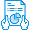 analysis, analytics, diagram, hands, report icon