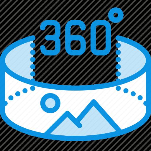 degrees, panorama, photo, view icon