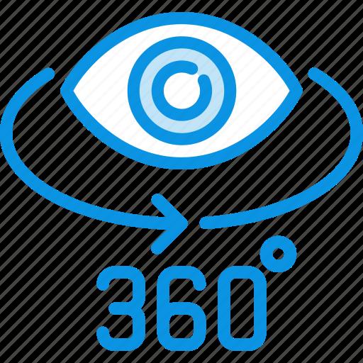degrees, eye, panorama icon