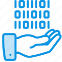 data, hand, share icon