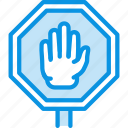 access, block, denied, hand, sign, stop icon