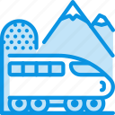 mountain, train, tunnel icon