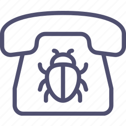 call, communication, contact, device, listening, phone, spy-bug icon
