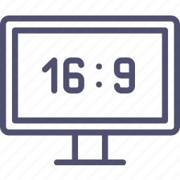 aspect ratio, device, hd, television, tv, tv-set, wide icon