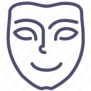 emotion, face, happy, joy, mask, mimicry, smile icon