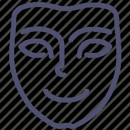 emotion, face, happy, joy, mask, mimicry, smile icon