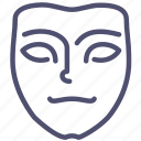 emotion, face, icojam, mask, meditative, mimicry, pensive icon