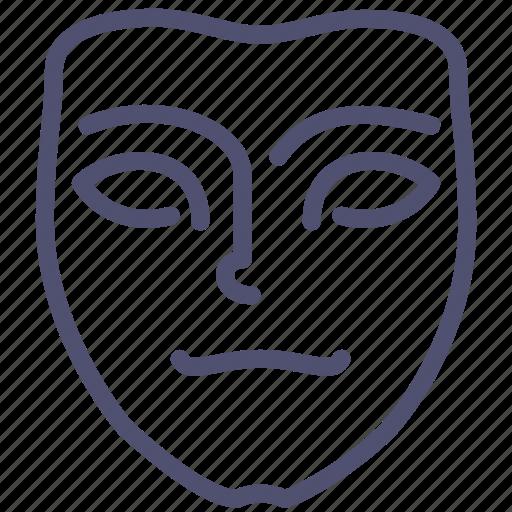 emotion, face, icojam, mask, meditative, mimicry, pensive icon