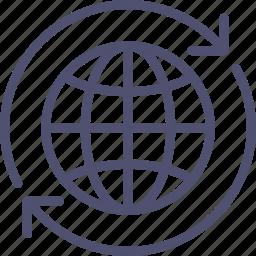 around, earth, globus, spinning, world icon