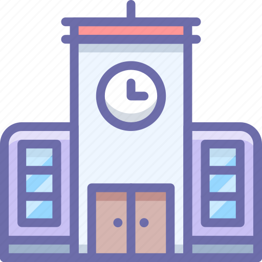 building, school, time icon