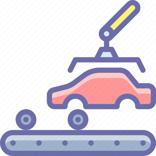 car, factory, production icon