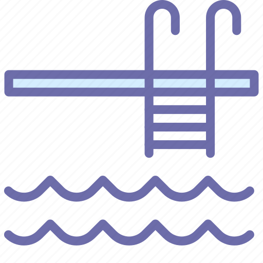 pool, stairs, water icon