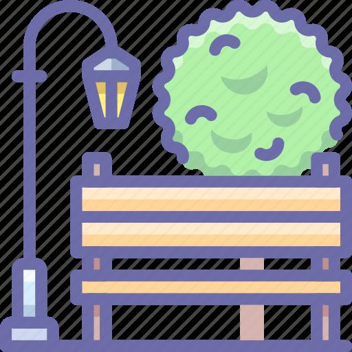 bench, light, park icon
