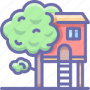 house, tree, treehouse