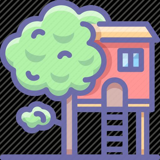 house, tree, treehouse icon