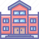 bullding, library, school icon