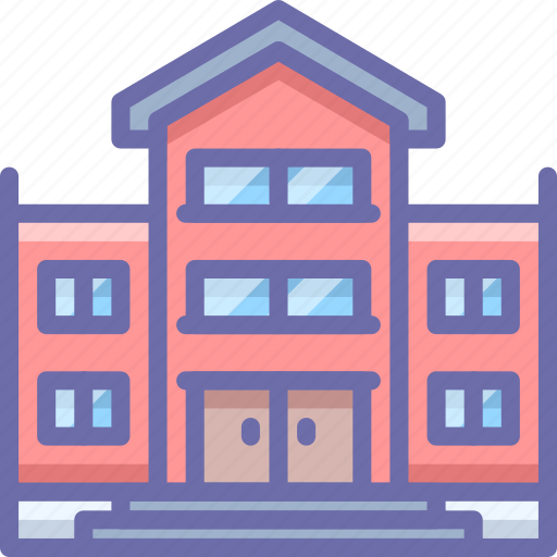 bullding, library, school icon