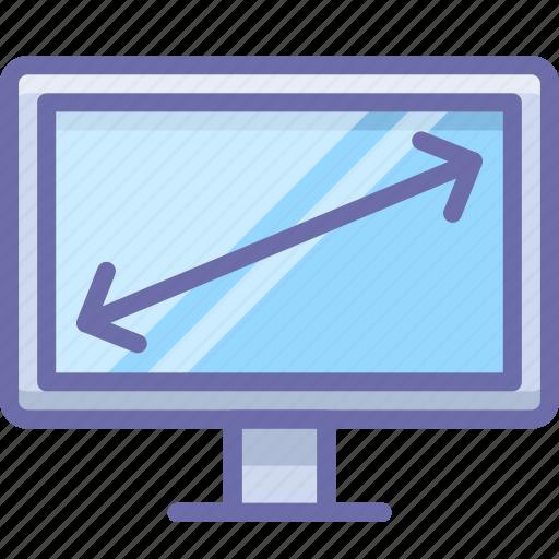 diagonal, display, tv icon