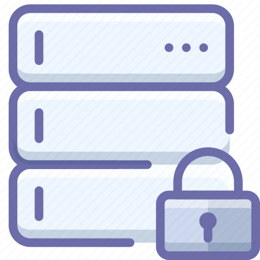 database, lock, server icon