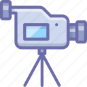camcorder, camera, record, stand, tripod, video icon