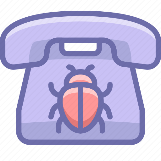 bug, listening, phone icon