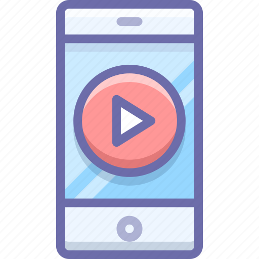 mobile, movie, play icon