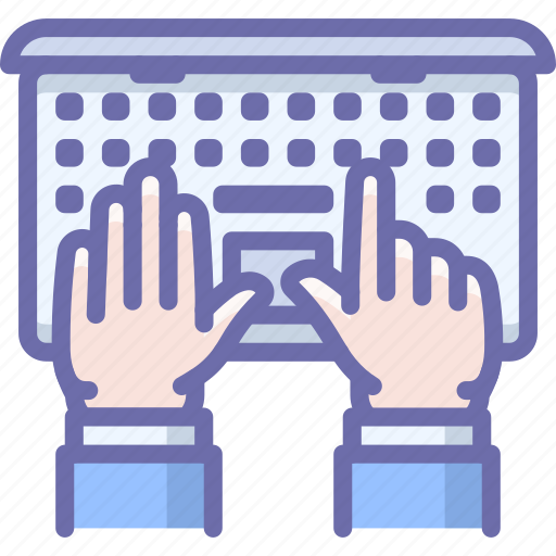 hands, laptop, work icon