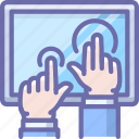 device, hands, multitouch icon