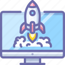 computer, rocket, startup icon