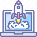 app, laptop, launch, rocket icon