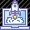 rocket, launch, app, laptop