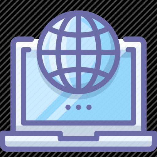 globe, laptop, web icon