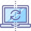 backup, laptop, sync icon